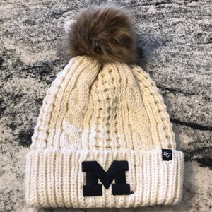 Michigan Wolverines knit hat with fur Pom
